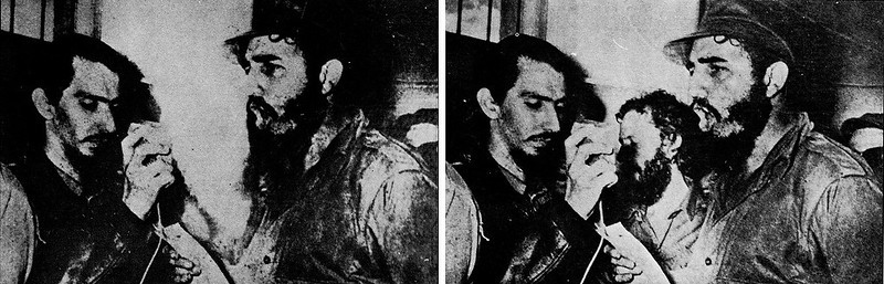 . 1968:  When in the summer of 1968 Fidel Castro (right) approves of the Soviet intervention in Czechoslovakia, Carlos Franqui (middle) cuts off relations with the regime and goes into exile in Italy. His image was removed from photographs.  SOURCE: http://www.cs.dartmouth.edu/farid/research/digitaltampering/
