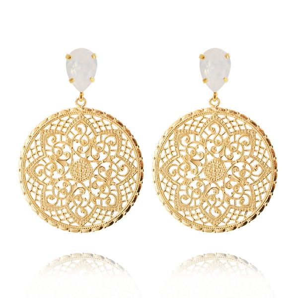 Alexandra Earrings / White Opal Gold