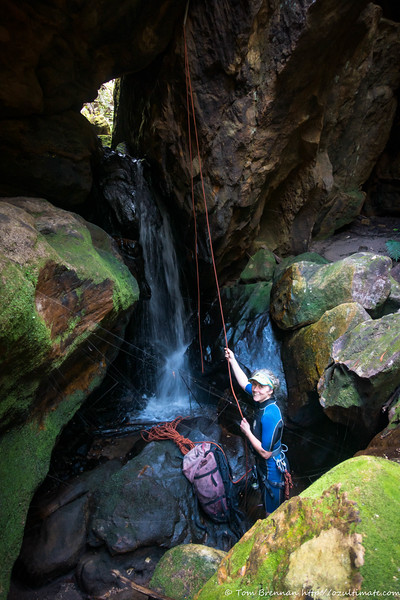 Pulling the rope on another optional abseil