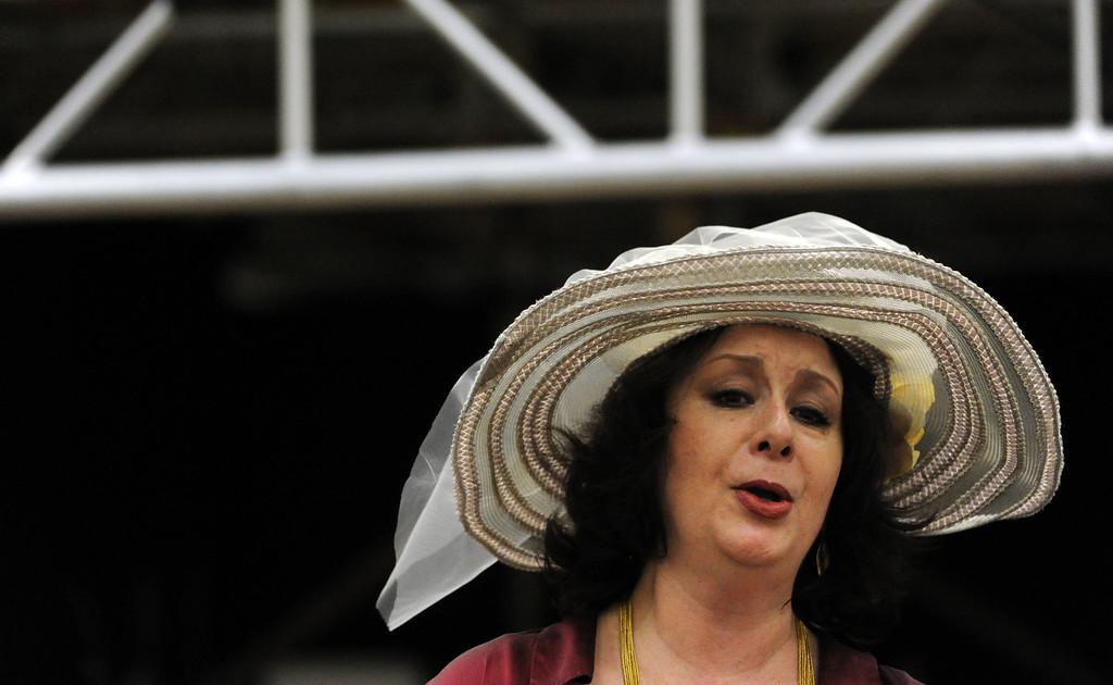 . Verónica Villarroel as Florencia Grimaldi performs during a rehearsal of LA Opera\'s production of Florencia en el Amazonas at the Dorothy Chandler Pavilion in Los Angeles, Calif., Wednesday, Nov. 5, 2014.  (Photo by Keith Birmingham/ Pasadena Star-News)