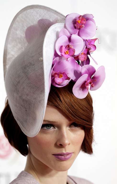 . Model Coco Rocha arrives to attend the 139th Kentucky Derby at Churchill Downs Saturday, May 4, 2013, in Louisville, Ky. (AP Photo/Darron Cummings)