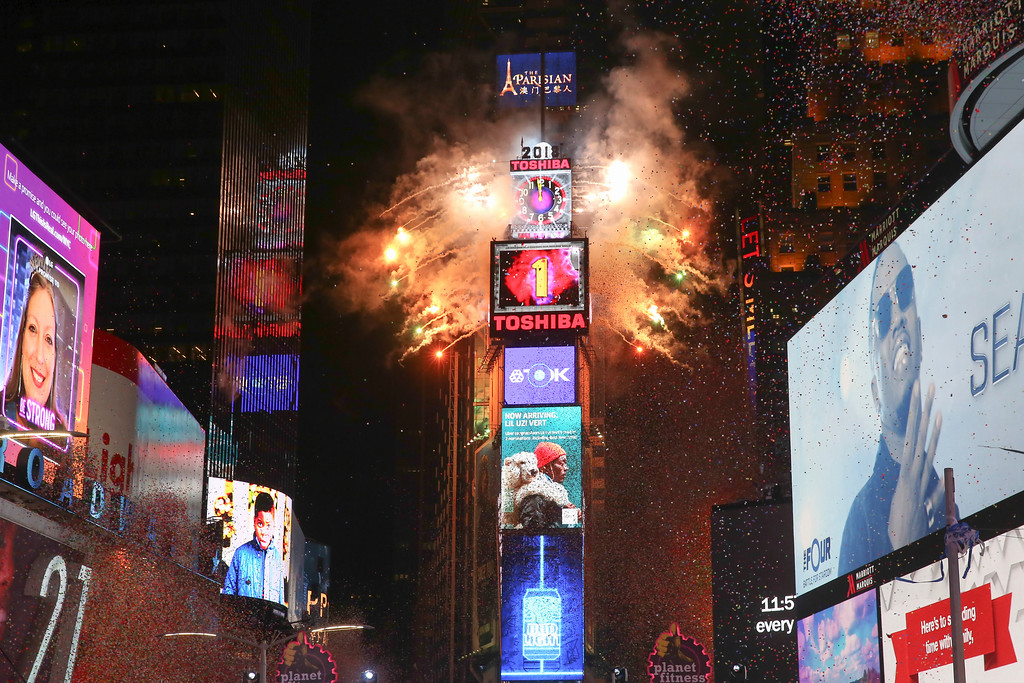 . The ball drops during the New Year\'s Eve celebration in Times Square on Sunday, Dec. 31, 2017, in New York. (Photo by Brent N. Clarke/Invision/AP)