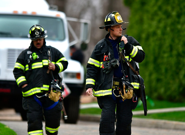 4/18/2019 Mike Orazzi | Staff The scene of a propane leak in a 1000 gallon underground tank on Patricia Drive in Bristol on Thursday morning.