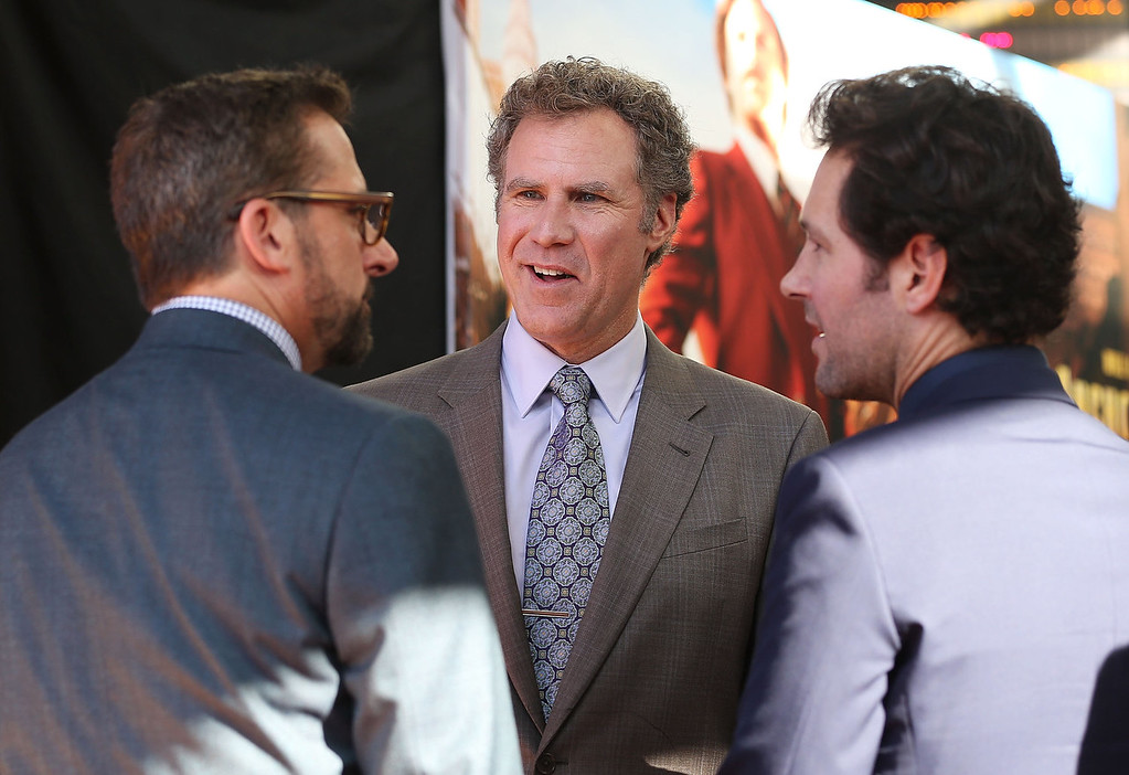 ". (L-R) Steve Carell, Will Ferrell and Paul Rudd arrive at the ""Anchorman 2: The Legend Continues\"" Australian premiere on November 24, 2013 in Sydney, Australia.  (Photo by Mark Metcalfe/Getty Images for Paramount Pictures International)"