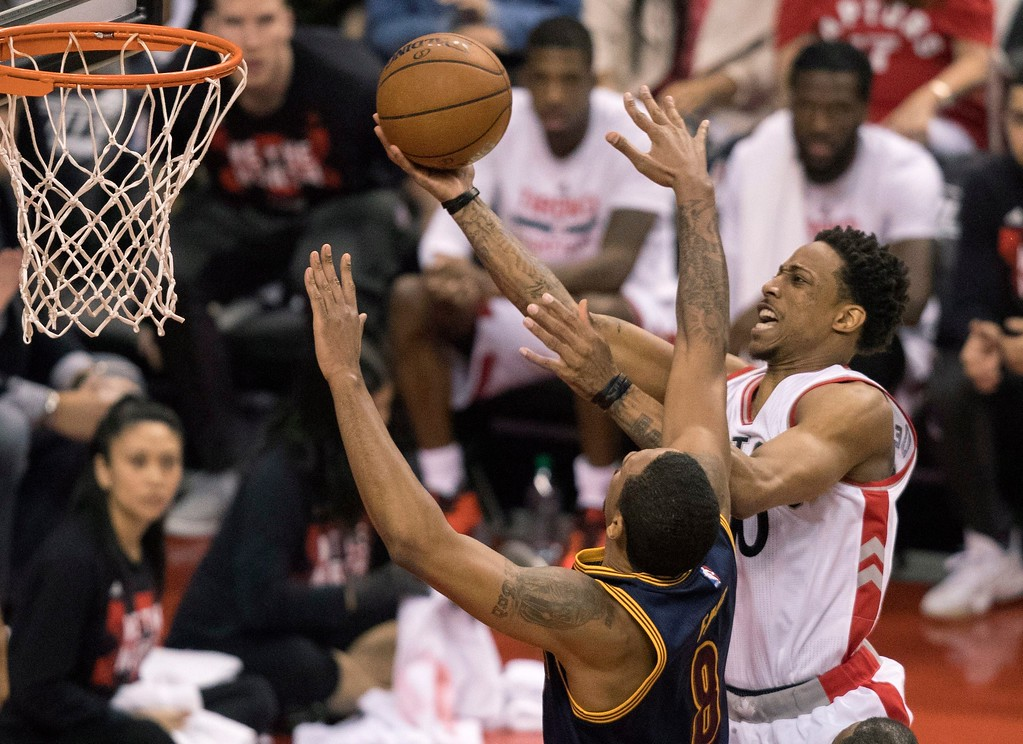 . Toronto Raptors\' DeMar DeRozan drives to the basket as Cleveland Cavaliers\' Channing Frye defends during the first half of Game 3 of an NBA basketball second-round playoff series in Toronto on Friday, May 5, 2017. (Fred Thornhill/The Canadian Press via AP)