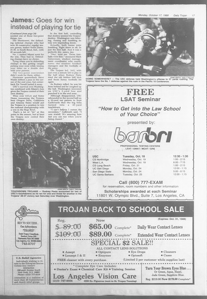 Daily Trojan, Vol. 107, No. 29, October 17, 1988