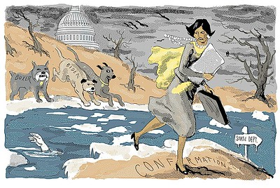 """""""Condi Rice Crossing the Ice"""" cartoon of January 20, 2005 from The New York Sun. The Dems gave Condi a hard time during her confirmation hearings to be state secretary"""