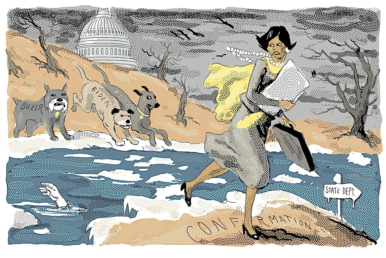 """Condi Rice Crossing the Ice"" cartoon of January 20, 2005 from The New York Sun. The Dems gave Condi a hard time during her confirmation hearings to be state secretary"