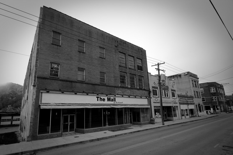 Another sign of former life in the town, again an empty shell.