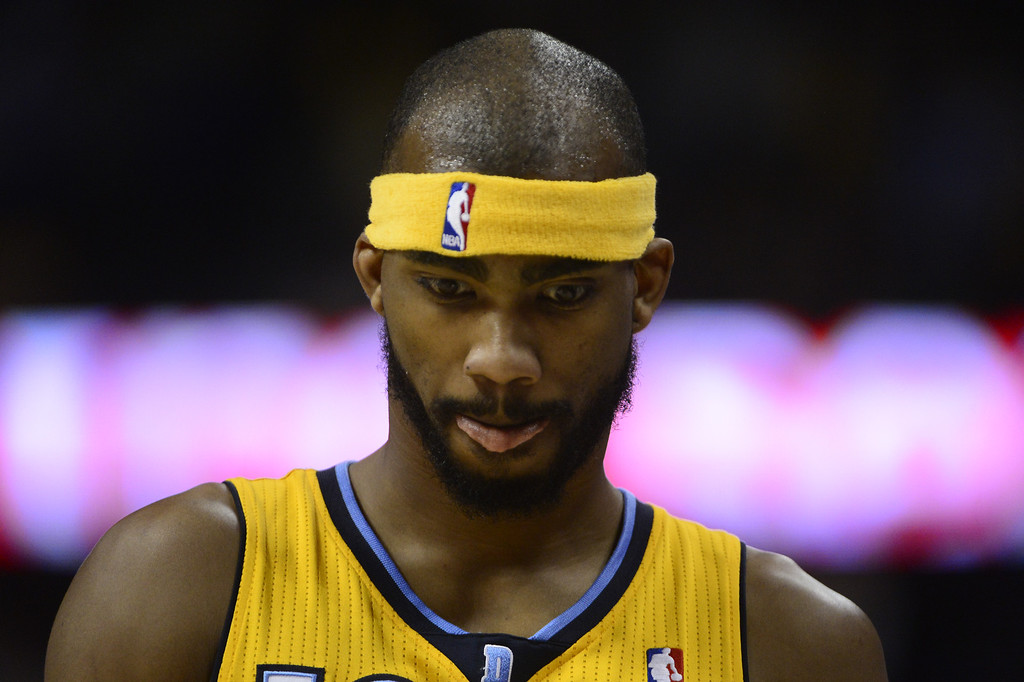 . DENVER, CO. - APRIL 20: Denver Nuggets small forward Corey Brewer (13) during the fourth quarter. The Denver Nuggets took on the Golden State Warriors in Game 1 of the Western Conference First Round Series at the Pepsi Center in Denver, Colo. on April 20, 2013. (Photo by AAron Ontiveroz/The Denver Post)