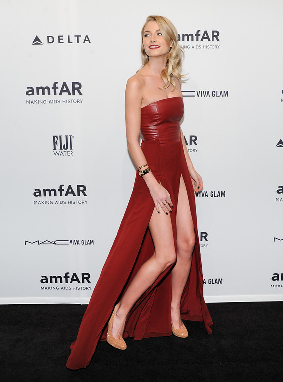 . German model Lena Gercke attends amfAR\'s New York gala at Cipriani Wall Street on Wednesday, Feb. 6, 2013 in New York. (Photo by Evan Agostini/Invision/AP)