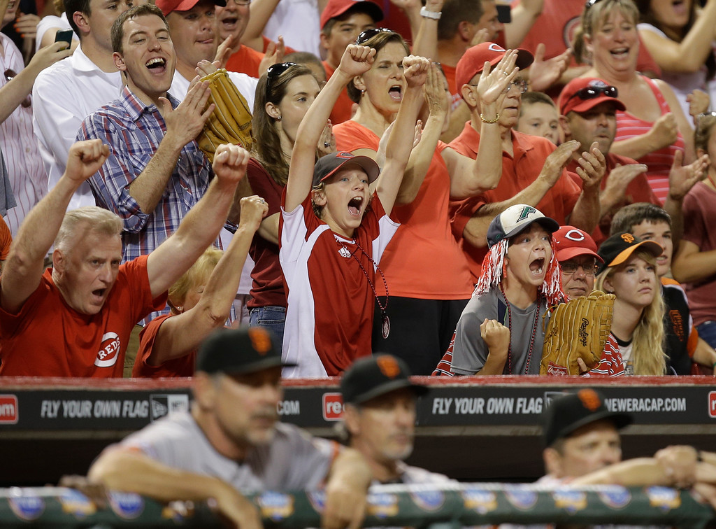 . Cincinnati Reds fans react with two outs in the ninth inning of a baseball game against the San Francisco Giants, Tuesday, July 2, 2013, in Cincinnati. Cincinnati won 3-0 behind a no-hitter by Homer Bailey. (AP Photo/Al Behrman)