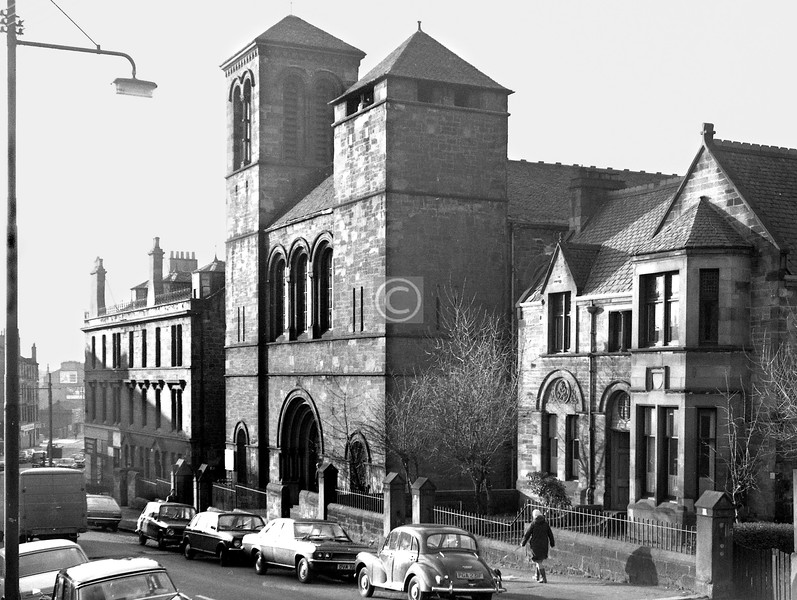 Westercraigs.   Blackfriars Parish Church (Campbell Douglas, 1878). It lost a spire from the south tower in the 1960s (compare with VM photo), and more recently the contemporary manse.    January 1974