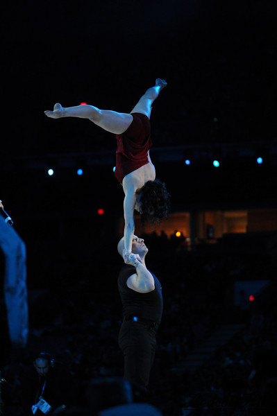 Acrobats perform to music at the Victory Ceremony on February 15th. There are two Victory Ceremonies each day -- one in Whistler and one in Vancouver. This one is indoors at BC Place (in Vancouver). The Victory Ceremony starts at 6:30 with a 30 minute opening performance. Then medals are awarded -- in Vancouver for Vancouver-based competitions, and in Whistler for Whistler-based competitions. There is a live TV feed of the other ceremony, so really you get to see all the medals awarded.