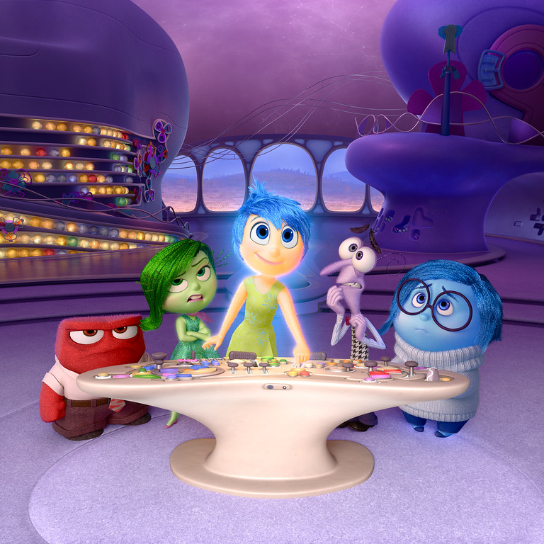 ". In this image released by Disney-Pixar, characters, from left, Anger, voiced by Lewis Black, Disgust, voiced by Mindy Kaling, Joy, voiced by Amy Poehler, Fear, voiced by Bill Hader, and Sadness, voiced by Phyllis Smith appear in a scene from ""Inside Out.\"" The film was nominated for an Oscar for best animated picture on Thursday, Jan. 14, 2016. The 88th annual Academy Awards will take place on Sunday, Feb. 28, at the Dolby Theatre in Los Angeles.  (Disney-Pixar via AP)"