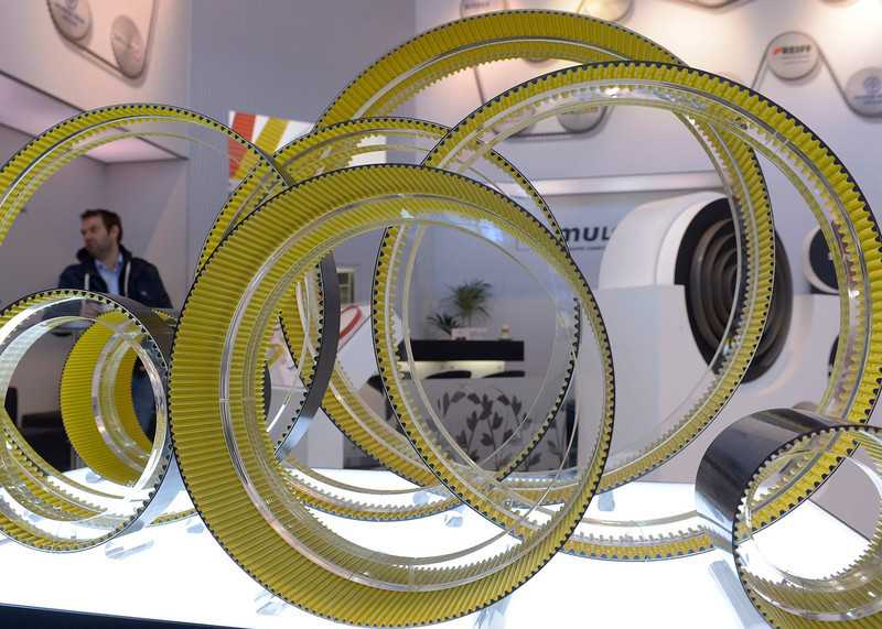 . Drive belts are pictured at the booth of German company Continental during preparations at the Hanover industrial fair in Hanover, April 7, 2013. The Hanover fair opens its doors to the public on April 8 and will end on April 12. REUTERS/Fabian Bimmer