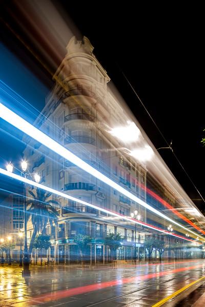 Streetcar at night, Seville, Spain