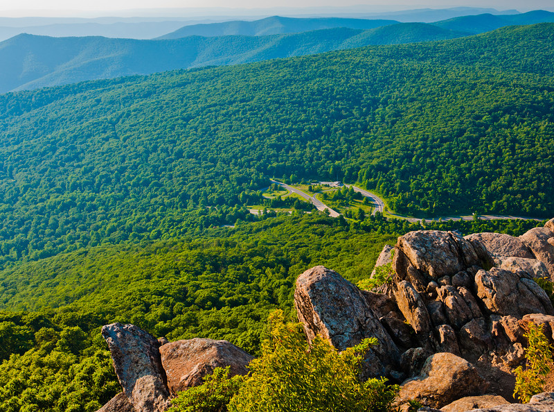 View from cliffs on Mary's Rock, in Shenandoah National Park, Virginia.