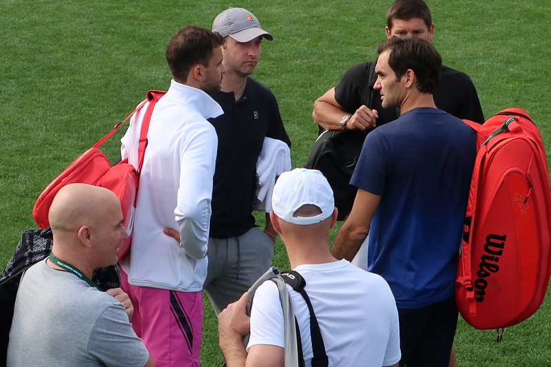 Federer and Agassi - tennis meeting at Indian Wells