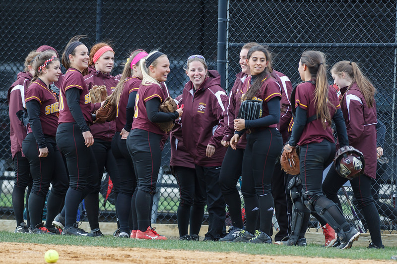 Sheehan staying loose between innings during a game with Amity Thursday at Amity Regional High School in Woodbridge Apr. 23, 2015 | Justin Weekes / For the Record-Journal