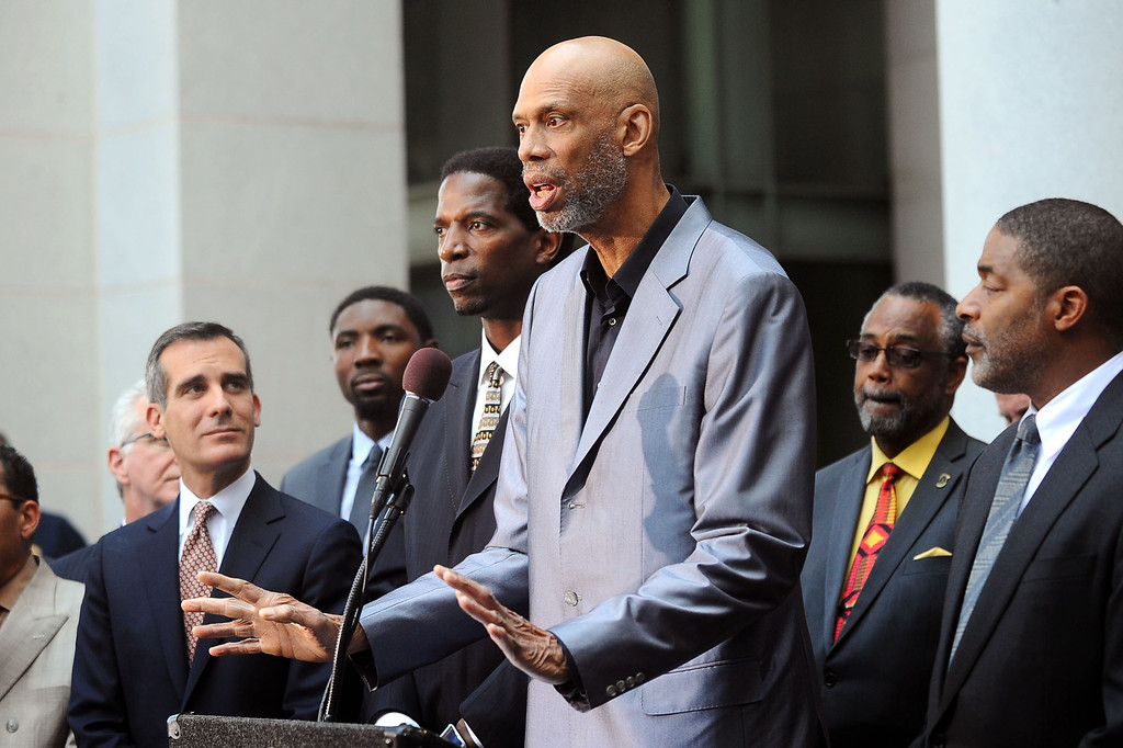 . Kareem Abdul-Jabbar speaks during a press conference at Los Angeles city hall regarding NBA Commissioner Adam Silver\'s banning of Donald Sterling for life from any association with the Clippers or the NBA April 29, 2014.(Andy Holzman/Los Angeles Daily News)