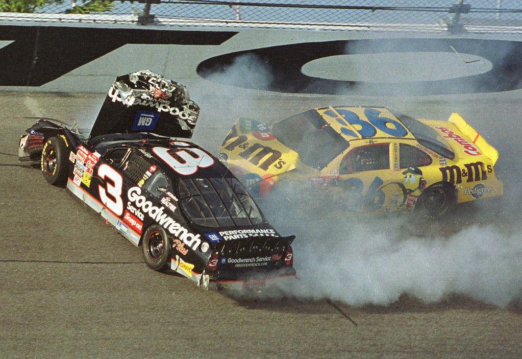 . Ken Schrader (36) slams into Dale Earnhardt (3) during the Daytona 500, in this Feb. 18, 2001 file photo, at the Daytona International Speedway in Daytona Beach, Fla.  Earnhardt was killed in the crash.  (AP Photo/Glenn Smith, File)
