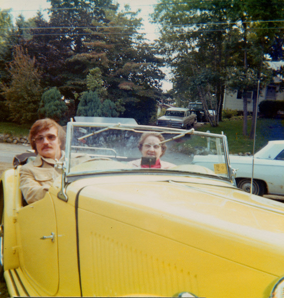 me and Grandma Wilson in a '49 MG-TC I drove from Wichita to deliver to a guy in upstate New York.  I stopped in New Jersey for a couple of days - 1974.