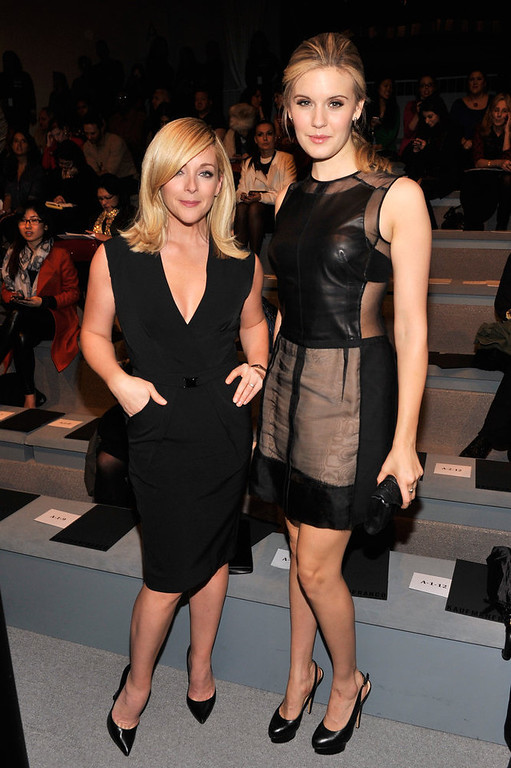 . Actresses Jane Krakowski (L) and Maggie Grace attend the Kaufmanfranco Fall 2013 fashion show during Mercedes-Benz Fashion Week at The Stage at Lincoln Center on February 11, 2013 in New York City.  (Photo by Stephen Lovekin/Getty Images for Mercedes-Benz Fashion Week)