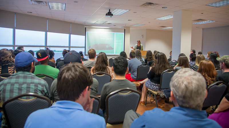 Dr. Hester Blum of Penn State speaks to graduate students at the Movement and Mobility Keynote Address.