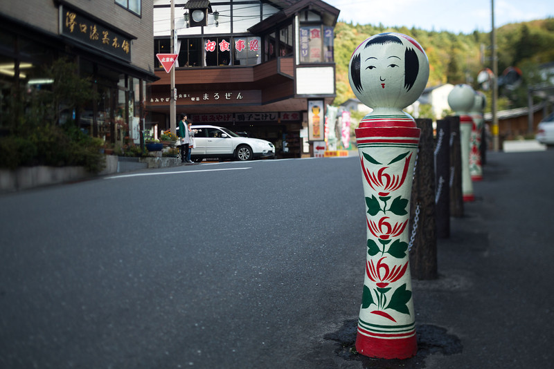 A bollard styled to look like a 'kokeshi' wooden doll which originate in Naruko-onsen-kyo