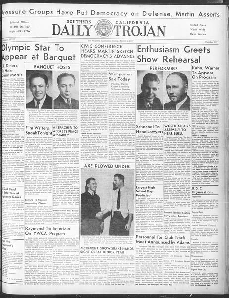 Daily Trojan, Vol. 28, No. 117, April 16, 1937