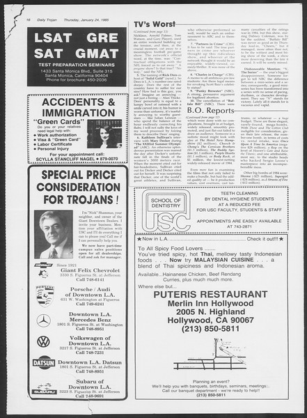 Daily Trojan, Vol. 98, No. 10, January 24, 1985