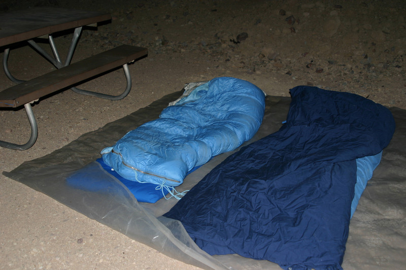 Arrived at Calico after 9 p.m., found a spot, spread our tarp and our down sleeping gear on the ground, and went to bed. The stars were nice but drowned by a full moon, and we feared that our down bags would be too, too much in the hot night. But we survived. I slept very well.