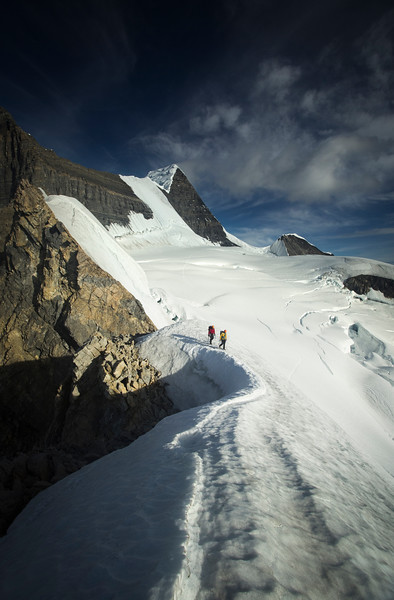 Scenes from a midsummer attempt on the Kain Face Route of Mount Robson, Mount Robson Provincial Park, BC, Canada.