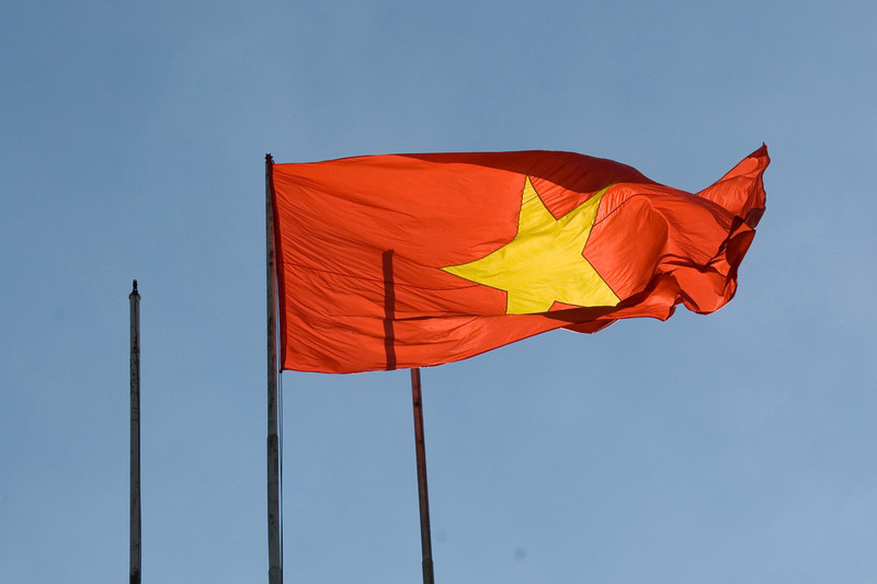 The Vietnamese national flag at Reunification Palace - Saigon, Vietnam
