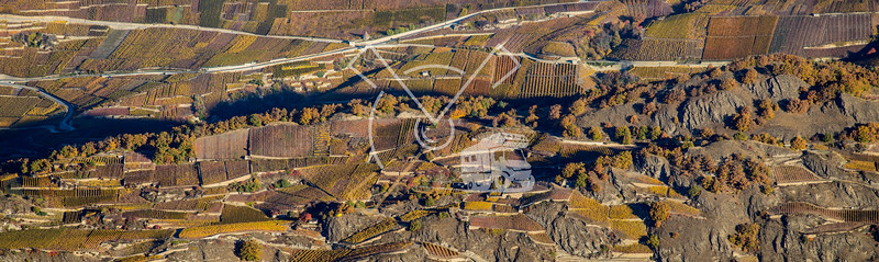 Aerial landscape of the north side of the Rhone River, showing vineyards in the Valais kanton (Wallis) near the city of Sion in an autumn sunrise, Switzerland