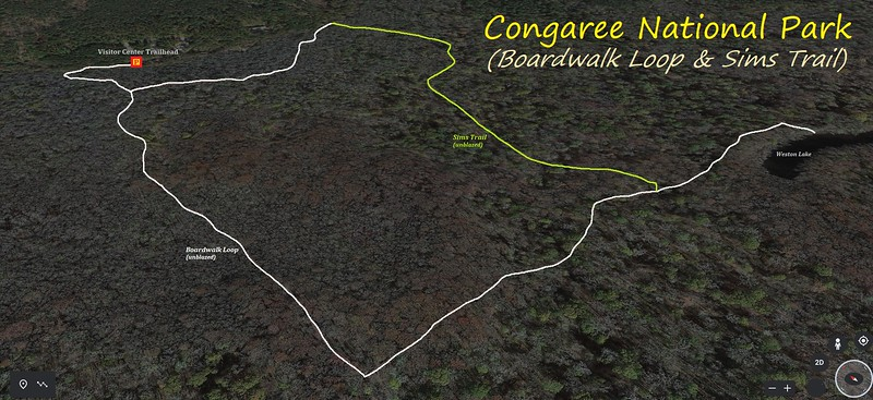 Congaree National Park Hike Route Map