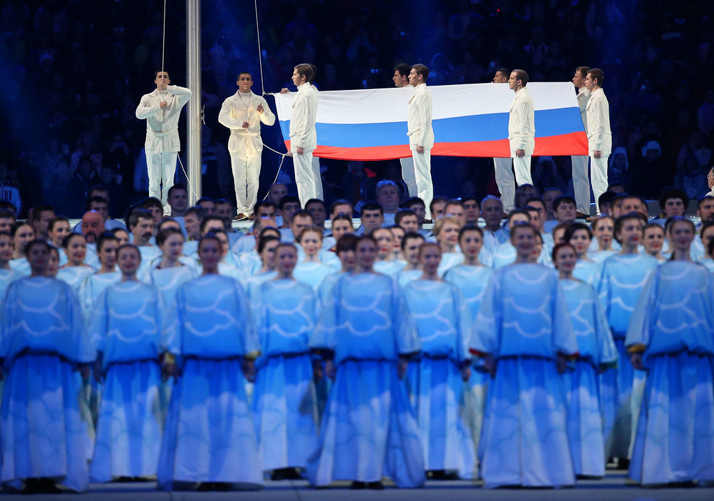 . The Russian national flag is hoisted during the Opening Ceremony of the Sochi 2014 Winter Paralympic Games at Fisht Olympic Stadium in Sochi, Russia, 07 March 2014.  EPA/SERGEI CHIRIKOV