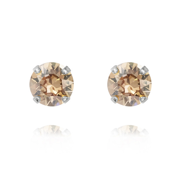 Petite Stud Earrings / Golden Shadow Rhodium