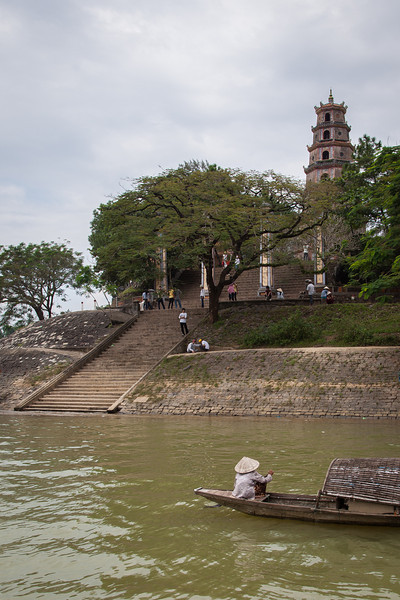 A shot of Thien Mu Pagoda from the boat in the Perfume River.