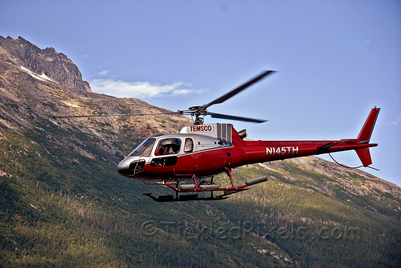 Temsco Helicopter Leaving Skagway