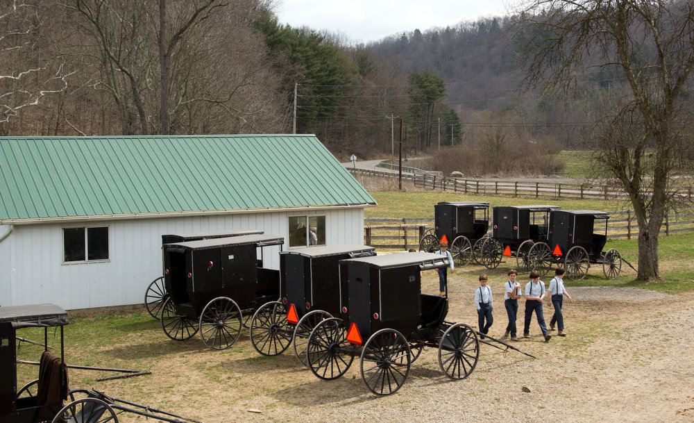 Description of . Amish boys walk to the school house for their final day of class in Bergholz, Ohio on Tuesday, April 9, 2013. (AP Photo/Scott R. Galvin)