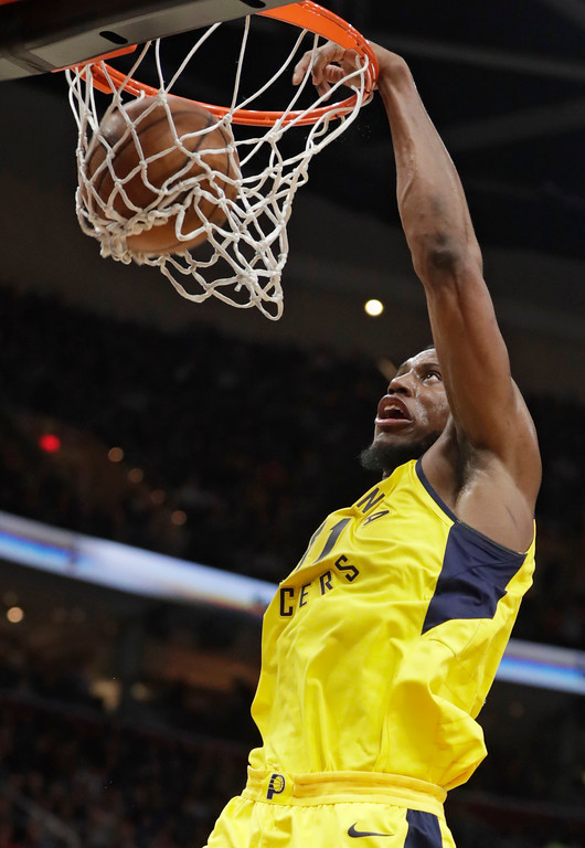 . Indiana Pacers\' Thaddeus Young dunks against the Cleveland Cavaliers during the second half of an NBA basketball game Friday, Jan. 26, 2018, in Cleveland. The Cavaliers won 115-108. (AP Photo/Tony Dejak)