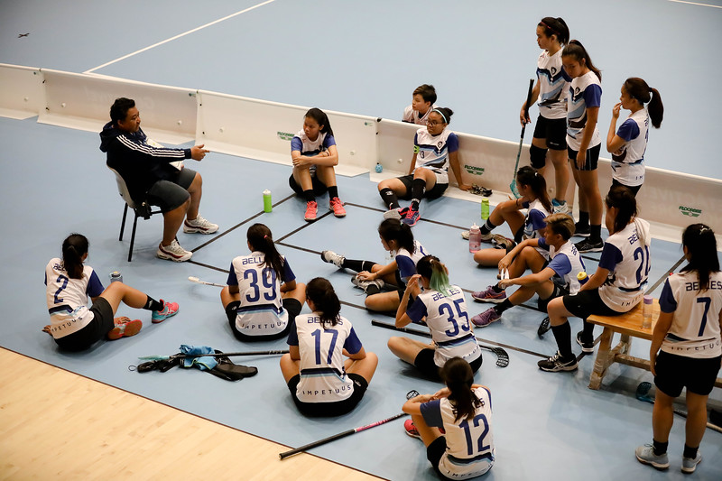 Players during the breaks in  Getactive floorball at One Tampines Hub at Tampines, Singapore on 27th July 2018. Photo by Sanketa Anand/Sport Singapore