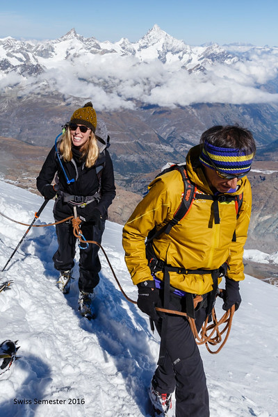Ms. Valentino on the summit of Breithorn with Swiss Guide Christoph