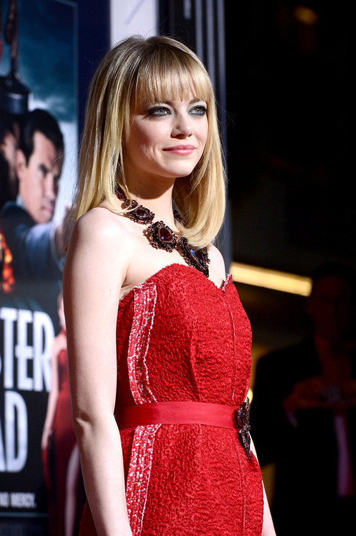 ". Actress Emma Stone arrives at Warner Bros. Pictures\' ""Gangster Squad\"" premiere at Grauman\'s Chinese Theatre on January 7, 2013 in Hollywood, California.  (Photo by Kevin Winter/Getty Images)"