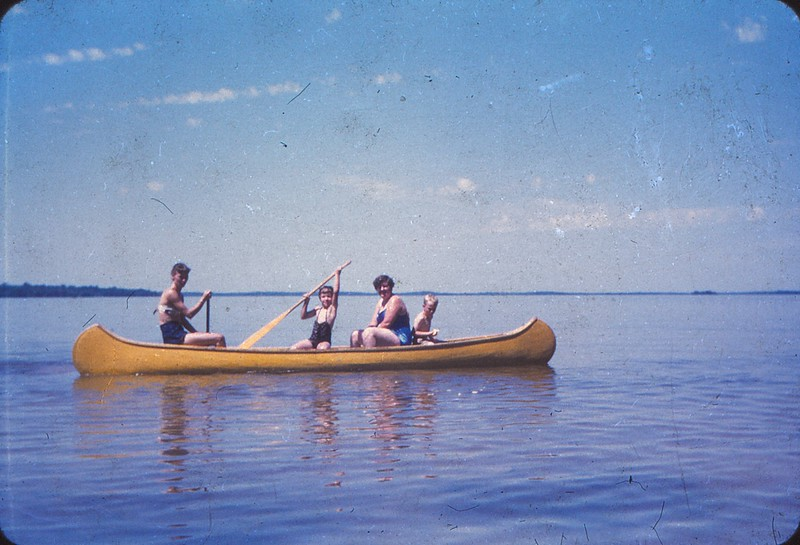 19540000 Jpyce Connie Jean Wilma and David in our old canoe at Bil Mar Beach Resort Manistique Lake Michigan IMG_20171105_0001.jpg