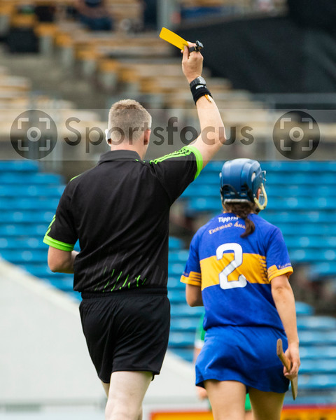 Match referee Ray Kelly gives Tipperary's Julieanne Bourke a yellow card