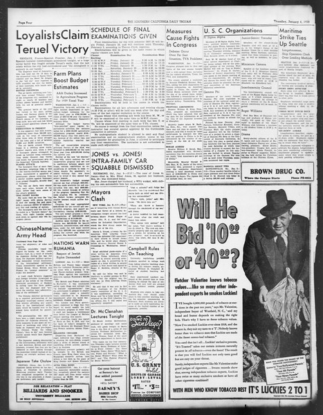Daily Trojan, Vol. 29, No. 61, January 06, 1938