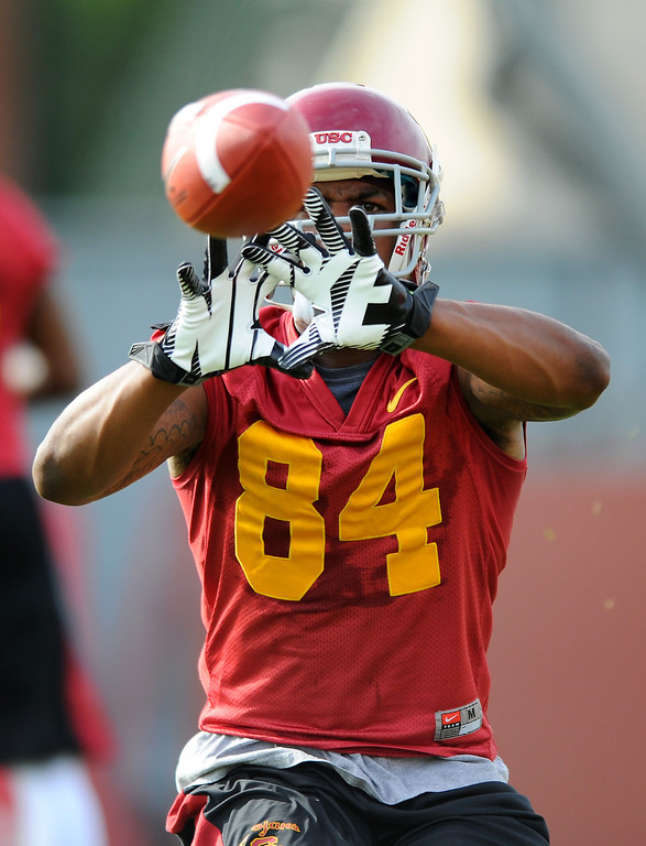 . USC WR Darreus Rogers hauls in a pass during a drill at spring practice, Tuesday, March 11, 2014, at USC. (Photo by Michael Owen Baker/L.A. Daily News)